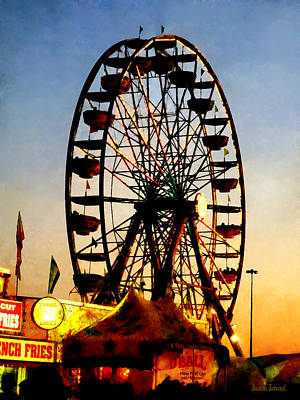 Ferris Wheel At Night Poster by Susan Savad