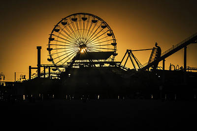 Ferris Wheel At Sunset Poster by Garry Gay