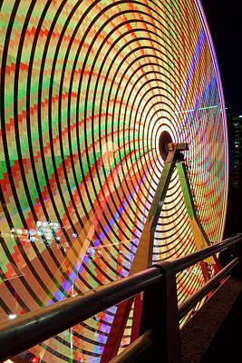 Ferris Wheel  Closeup Night Long Exposure Poster