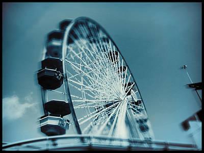 Poster featuring the photograph Blue Ferris Wheel by Douglas MooreZart
