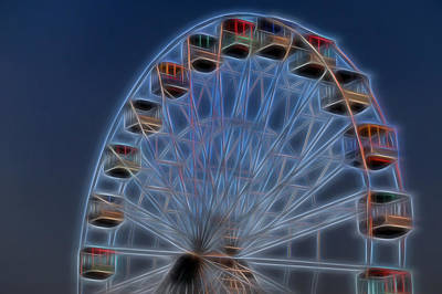 Ferris Wheel Glow Poster by Terry DeLuco