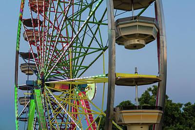 Ferris Wheel Lights At Dusk Closeup Poster