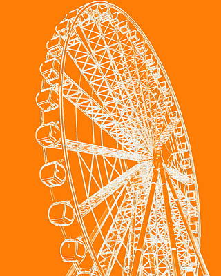 Ferris Wheel Silhouette Orange White Poster
