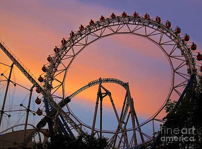 Ferris Wheel Sunset Poster by Eena Bo