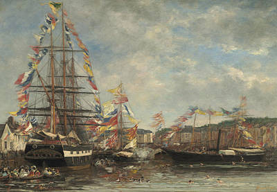 Festival In The Harbor Of Honfleur Poster by Eugene Louis Boudin