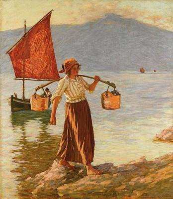 Fetching Water From Lake Garda Poster by MotionAge Designs