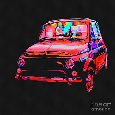 Fiat 500 Pop Art Red Poster