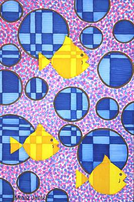 Fibonacci Fish In The Deep Blue Sea Poster by Minaz Jantz