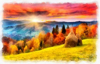 Field Of Autumn Haze Painting Poster