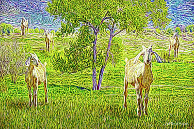 Field Of Baby Goat Dreams Poster by Joel Bruce Wallach