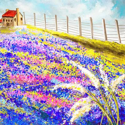 Field Of Blue - Bluebonnet Art Poster by Lourry Legarde