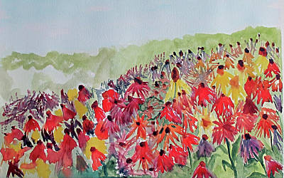Poster featuring the painting Field Of Flowers by Sandy McIntire