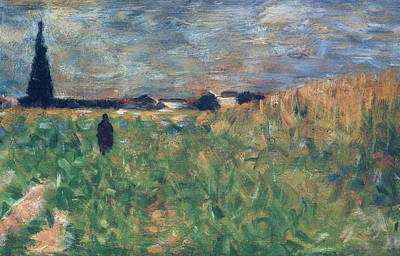 Fields In Summer Poster by Georges Pierre Seurat