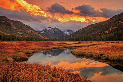 Poster featuring the photograph Fiery Bear River Sunset by Johnny Adolphson