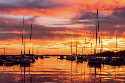Fiery Lake Norman Sunset Poster