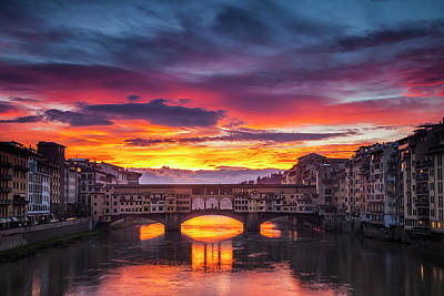 Fiery Sunrise Over Ponte Vecchio Poster by Andrew Soundarajan