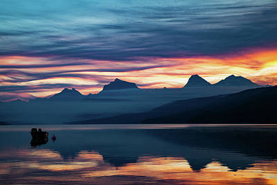Poster featuring the photograph Fiery Sunrise At Mcdonald Lake, Gnp by Lon Dittrick