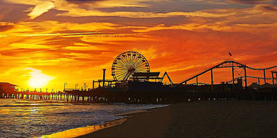 Fiery Sunset At Santa Monica Pier California  Poster