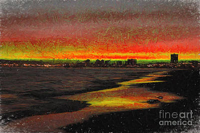 Poster featuring the digital art Fiery Sunset by Mariola Bitner