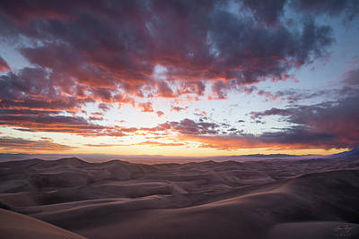 Fiery Sunset Over The Dunes Poster by Aaron Spong