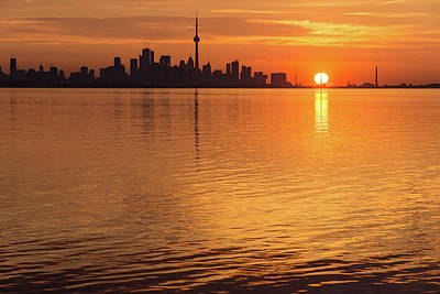 Fiery Toronto Skyline With The Sun Sliced In Half Poster