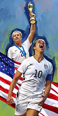 Poster featuring the painting Fifa World Cup U.s Women Soccer Carli Lloyd Abby Wambach Artwork by Sheraz A
