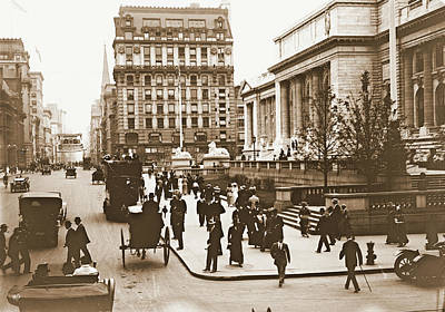 Fifth Avenue And New York City Public Library 1908 Poster by Padre Art