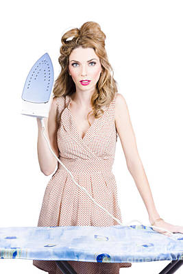Fifties Housewife Woman Ironing Clothes Poster