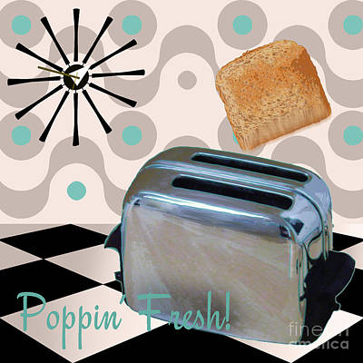 Fifties Kitchen Toaster Poster by Mindy Sommers