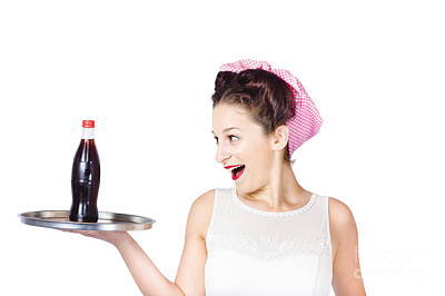 Fifties Style Female Waiter Serving Up Soda Poster