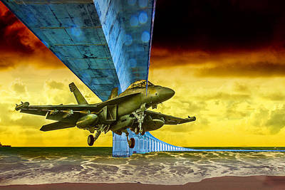 Fighter Jet Under The Bridge And In For A Landing On The Beach Poster