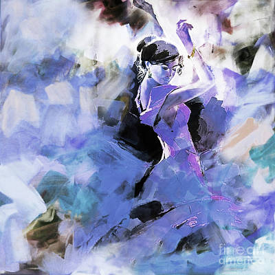 Poster featuring the painting Figurative Dance Art 509w by Gull G