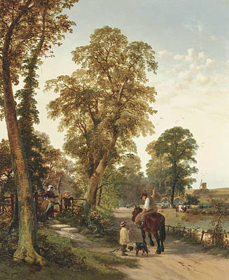 Figures And Animals Along A River Bank, A Cottage And Windmill Beyond Poster by Thomas Creswick