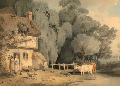 Figures By A Cottage Door And Cattle In A Stream Poster by Mountain Dreams