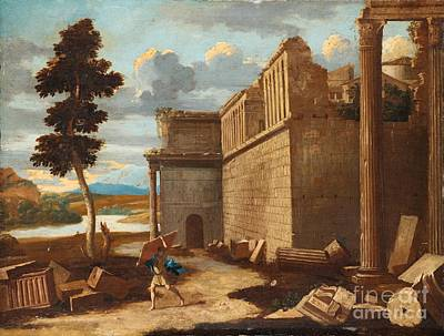 Figures In A Landscape With Ruins Poster by Celestial Images