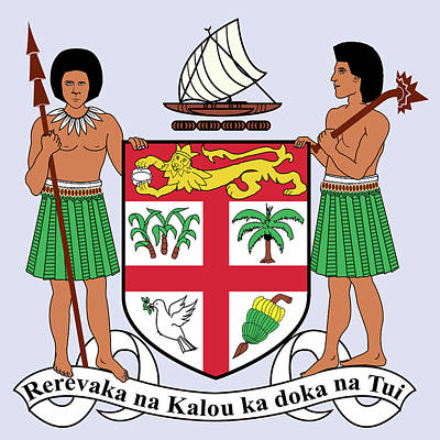 Poster featuring the drawing Fiji Coat Of Arms by Movie Poster Prints