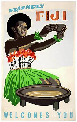 Fiji Restored Vintage Travel Poster Poster