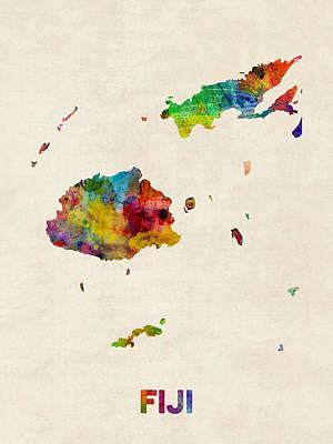 Fiji Watercolor Map Poster by Michael Tompsett