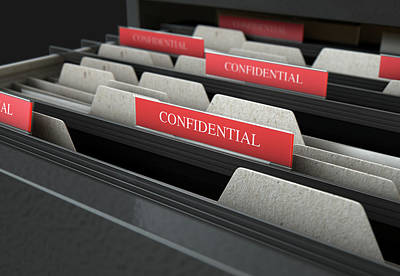 Filing Cabinet Drawer Open Confidential Poster by Allan Swart