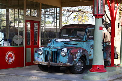 Filling Up The Old Ford Jalopy At The Associated Gasoline Station . Nostalgia . 7d13021 Poster