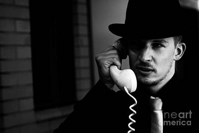 Film Noir Detective On Telephone Poster