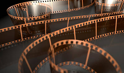 Film Strip Curled Poster