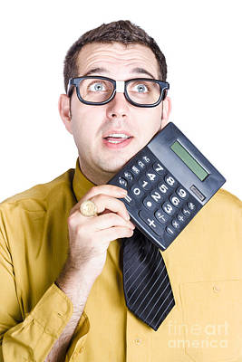 Finance Businessman With Calculator Poster by Jorgo Photography - Wall Art Gallery