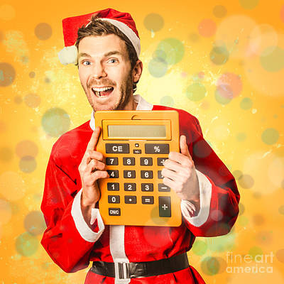 Finance Calculator Santa With Christmas Savings Poster