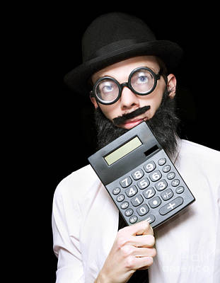 Financial And Accounting Genius With Calculator Poster by Jorgo Photography - Wall Art Gallery