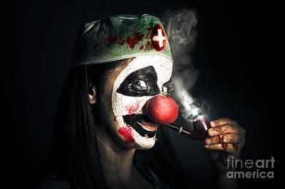 Fine Art Horror Portrait. Smoking Surgeon Clown Poster