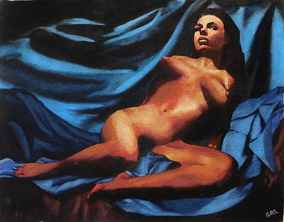 Fine Art Nude Multimedia Painting Tanya Sitting Reclined On Blue Poster by G Linsenmayer