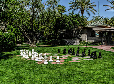 Poster featuring the photograph Fine Wine Cafe Chess At The Biltmore by Aimee L Maher Photography and Art Visit ALMGallerydotcom
