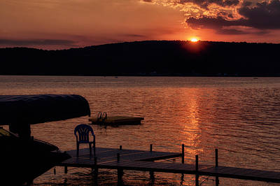 Finger Lakes New York Sunset By The Dock 01 Poster by Thomas Woolworth