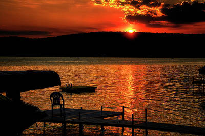 Finger Lakes New York Sunset By The Dock 03 Poster by Thomas Woolworth